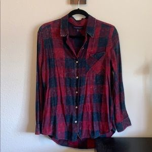 Aeropostale Black and Red Plaid Button Shirt
